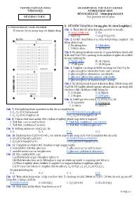 Đề kiểm tra 45 phút lần 1 kì I - Môn Hóa học