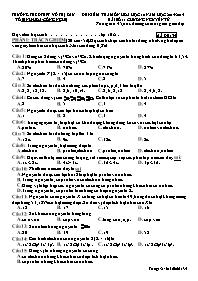 Đề kiểm tra môn Hoá học 10 - Bài số 1: Chương