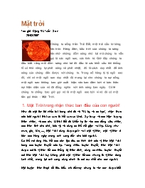 Giáo án Địa lí 11 - Thông tin về Mặt trời