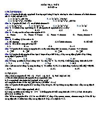 Kiểm tra 1 tiết - Bài số: 01 - Môn Hóa 11