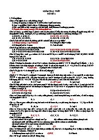 Kiểm tra 1 tiết - Bài số 2 - Môn Hóa 12