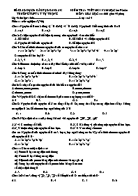 Kiểm tra 1 tiết học kì I - Môn: Hóa học 10